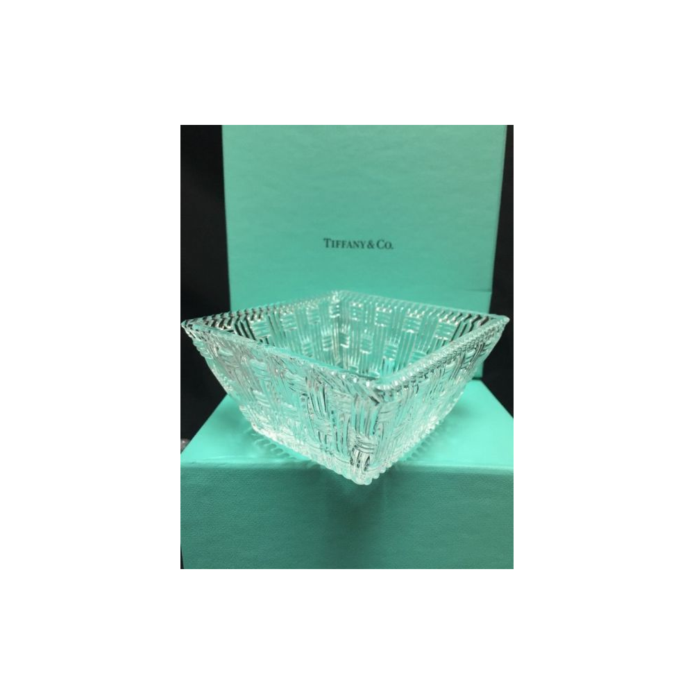 """4"""" Tiffany & Co Crystal Glass Square Woven Box"""