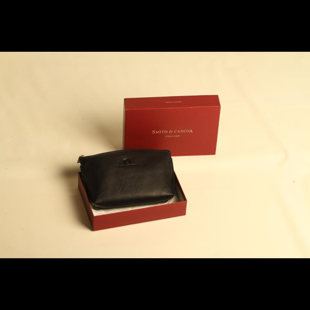 Smith & Canova Black Leather Cosmetic Bag