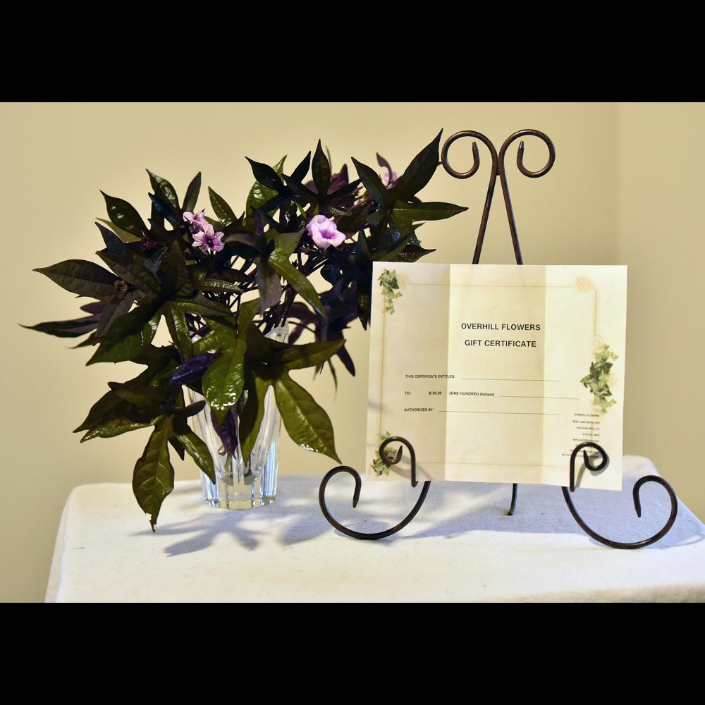 Overhill Florist Gift Certificate & Vase