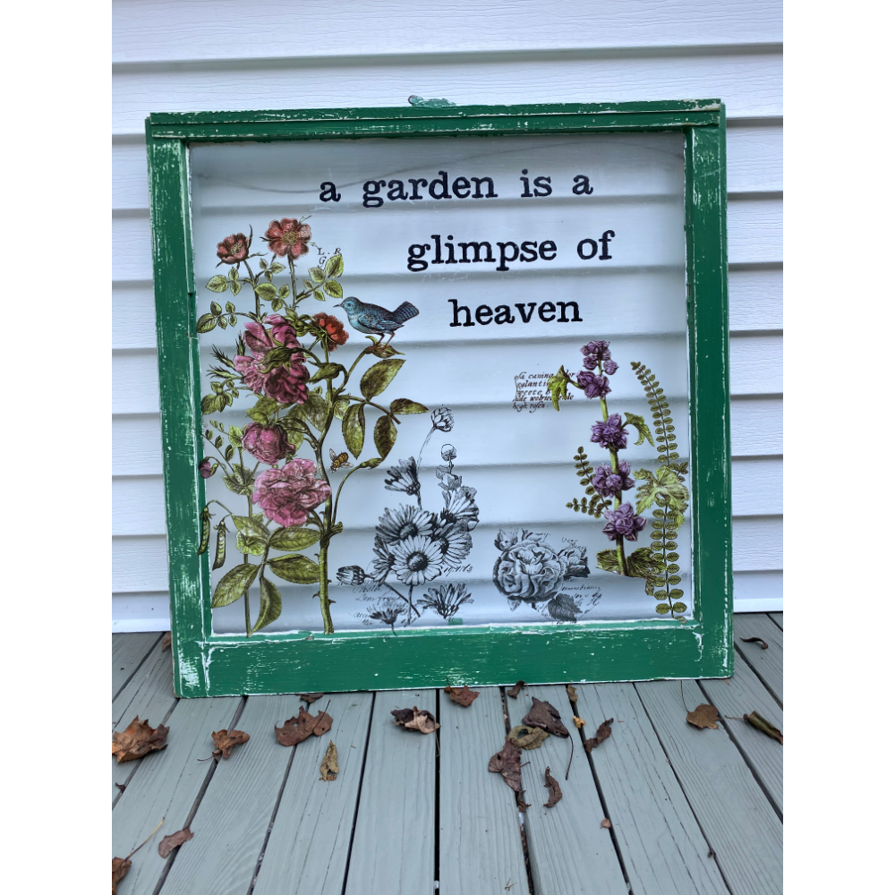 """The Garden is a Glimpse of Heaven"" - painted window"