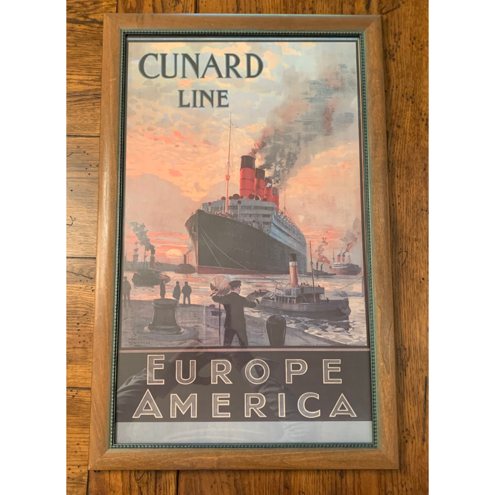Cunard Line Europe America Printed by Turner & Dunnett Reproduction Print