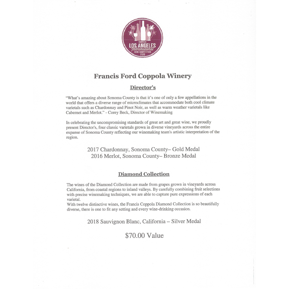 Francis Ford Coppola Winery Wines