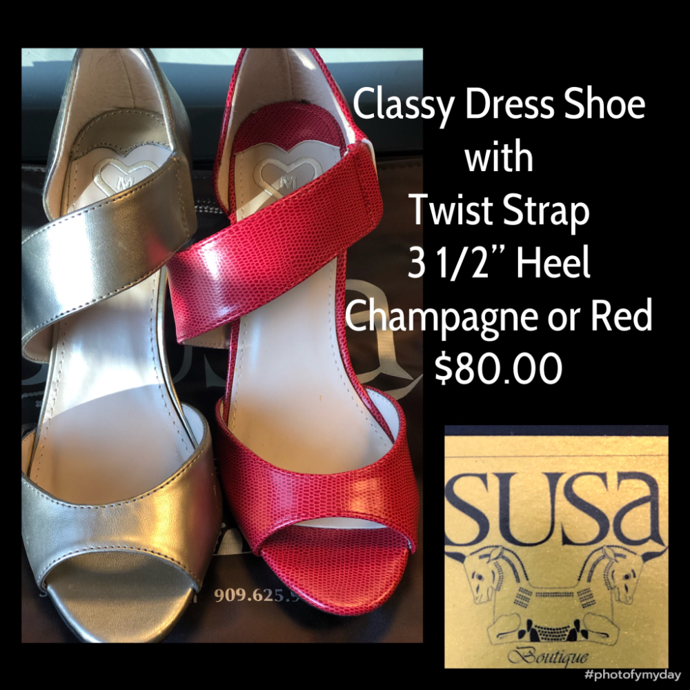 """Classy Dress Shoe with Twist Strap 3 1/2"""" Heel Champagne or Red"""