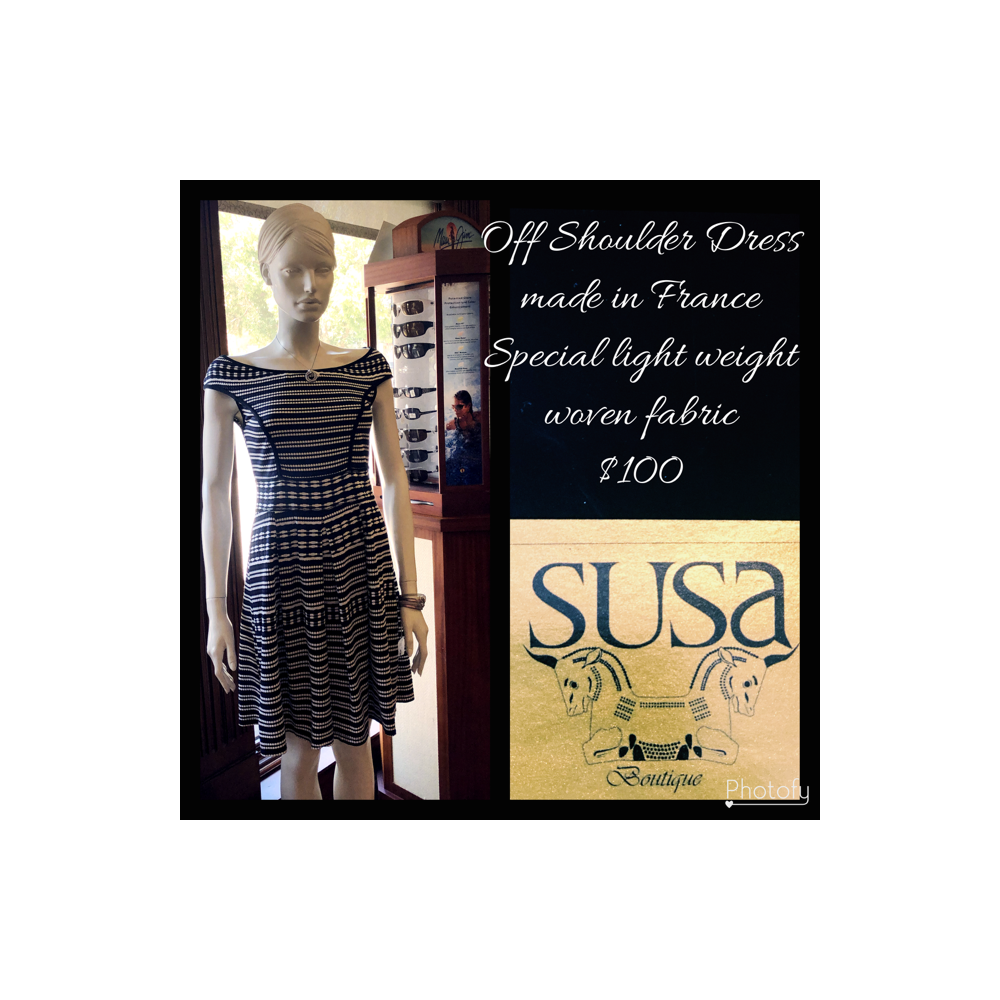 Off Shoulder Dress made in France. Special light weight woven fabric