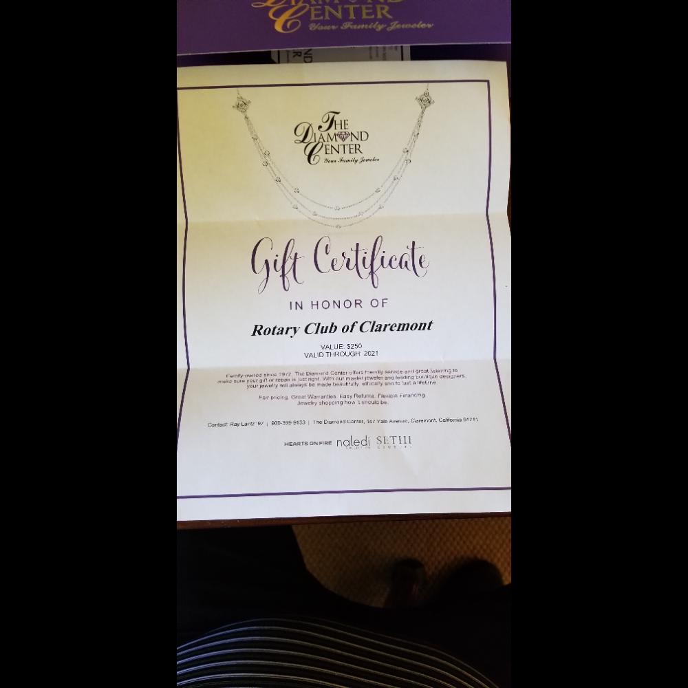 The Diamond Center $250 Gift Certificate