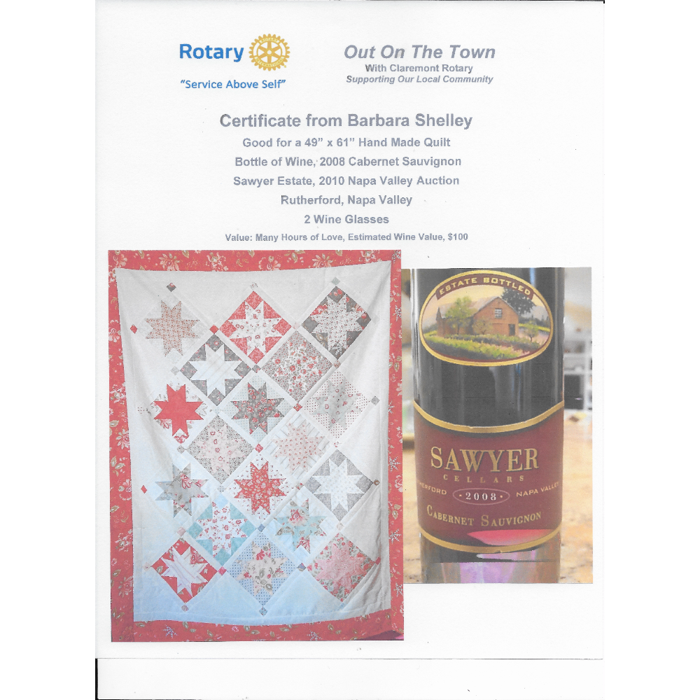 Hand-Made Quilt & Two Bottles of Wine
