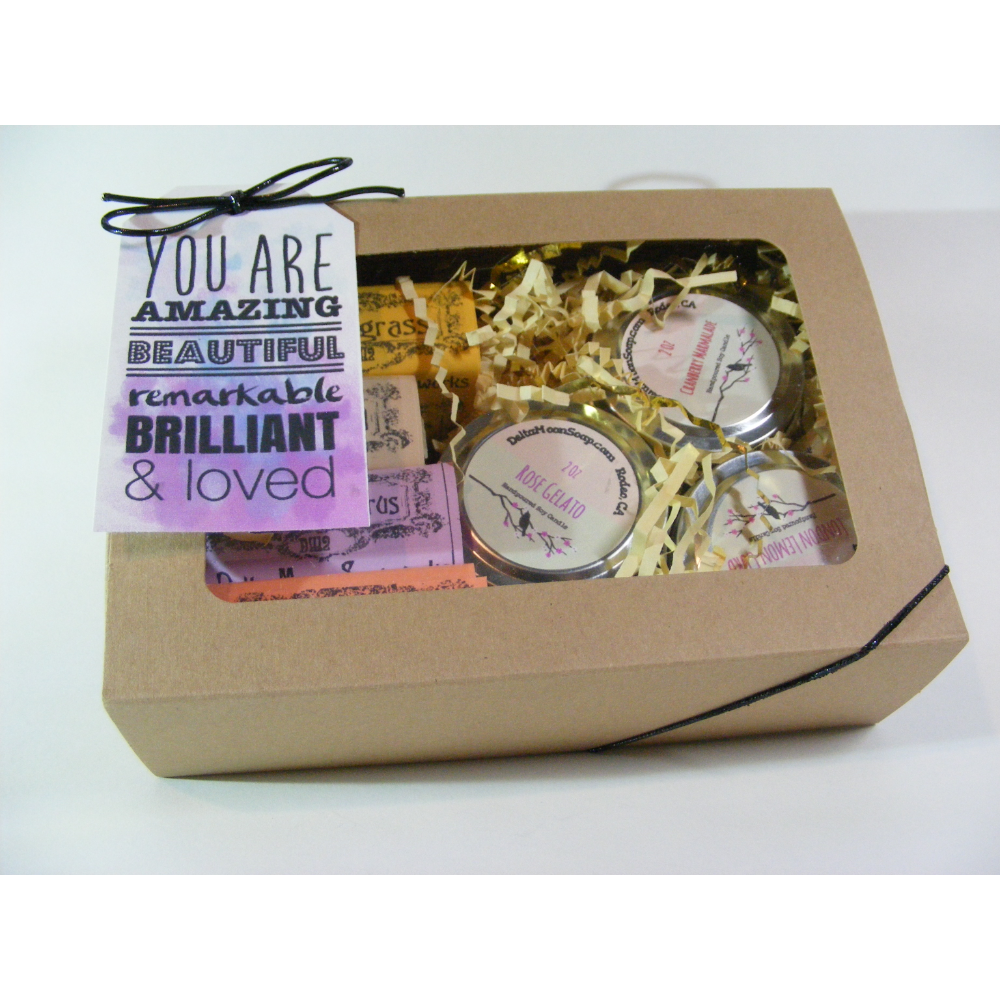 Gift Box of Handmade Soap and Soy Candles