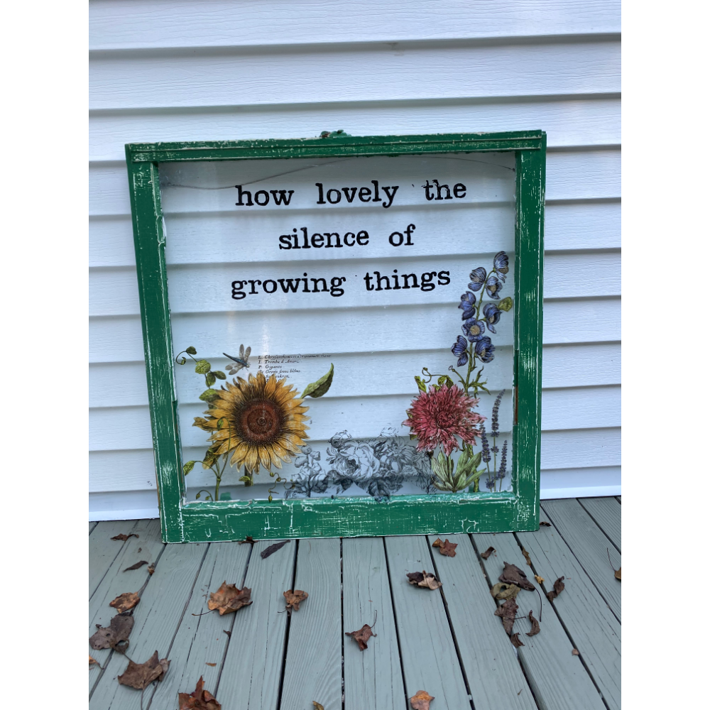 How Lovely the Silence of Growing Things - Painted Window