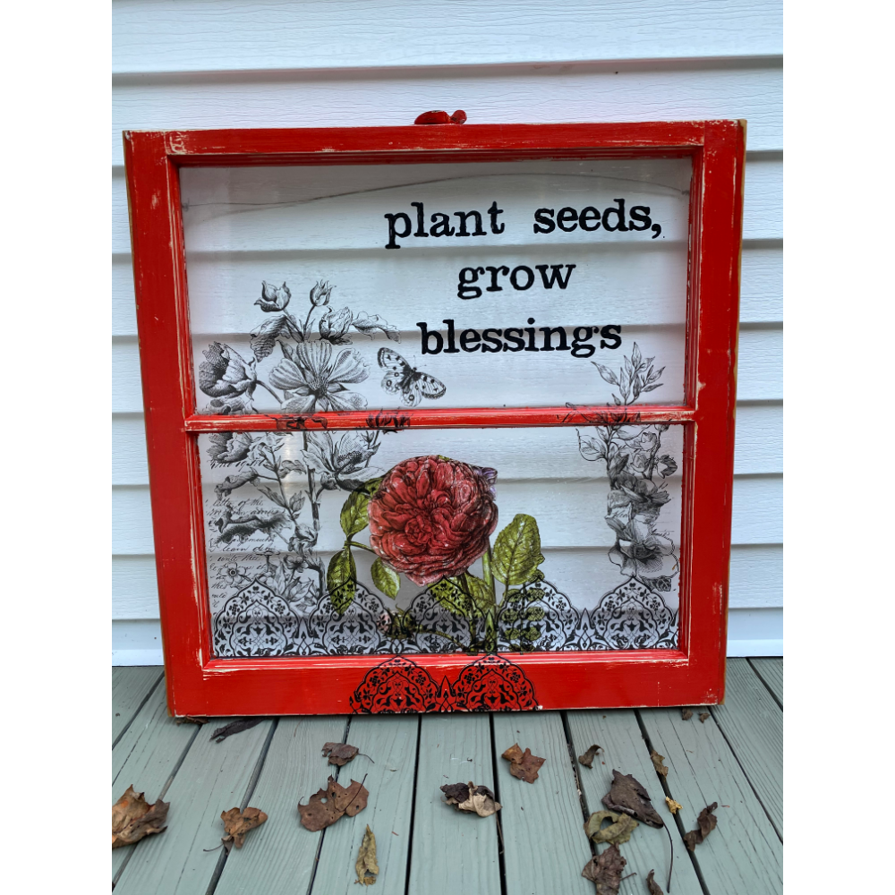 """Plant Seeds, Grow Blessings"" Painted Window"