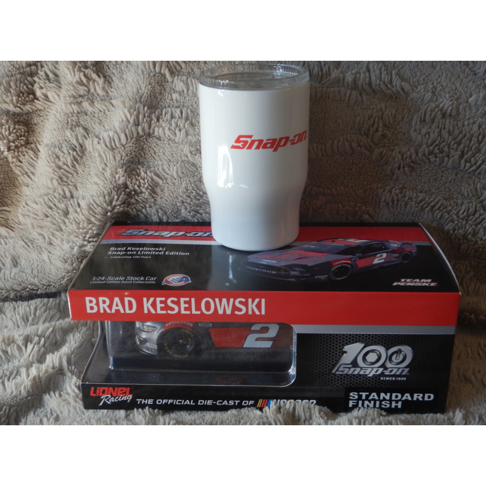 Diecast model and wine tumbler donated by Team Brinklow Snap-on Kingston