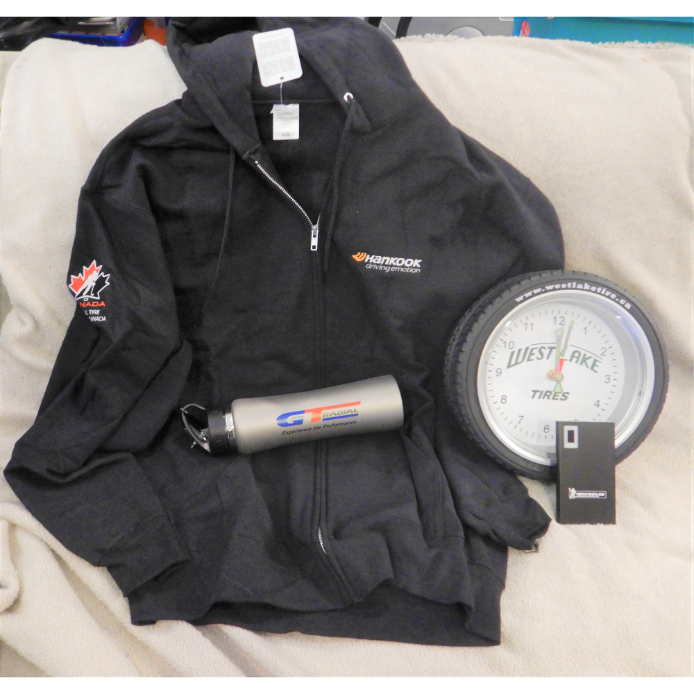 Tire branded swag package donated by Scott King of NTD Canada