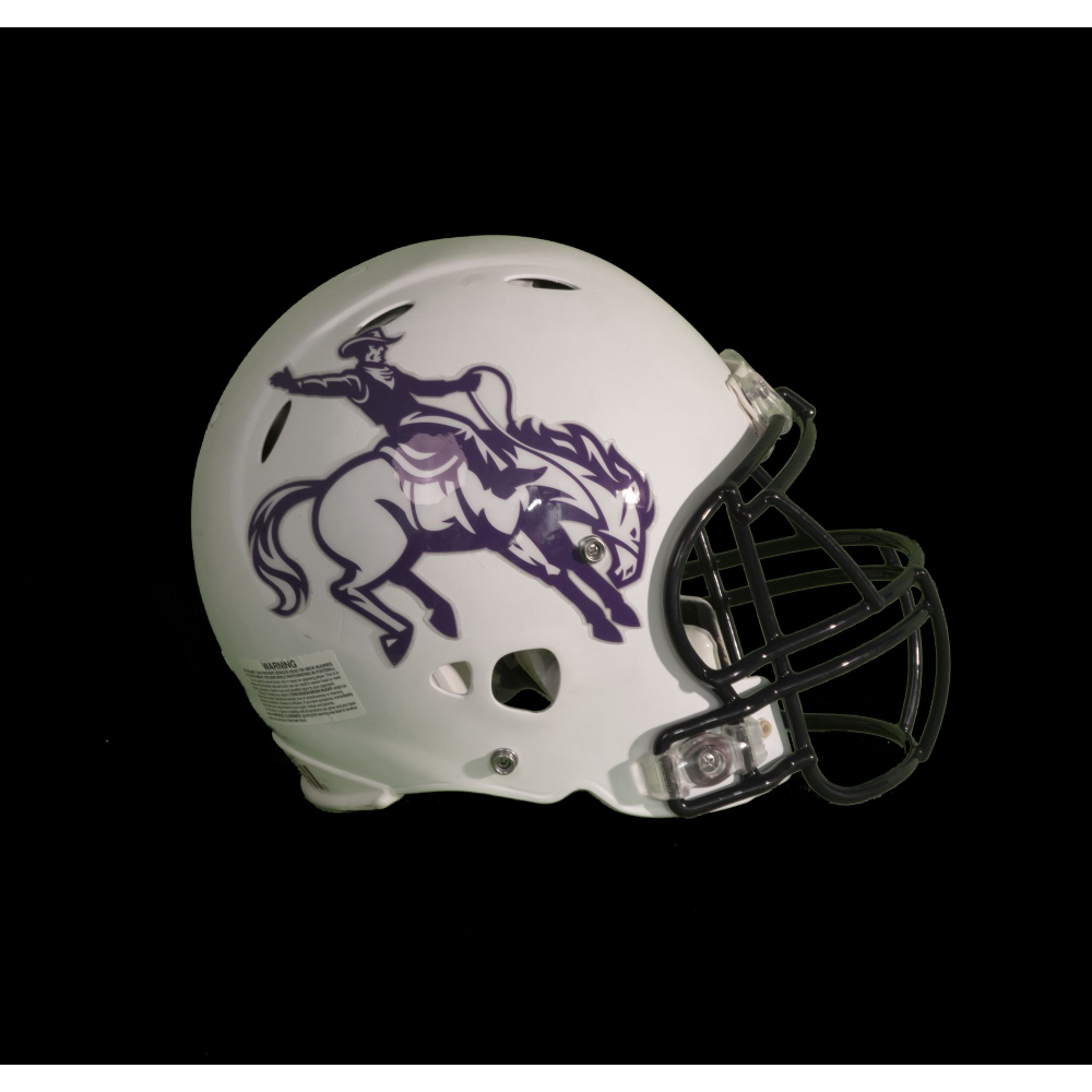 Highlands Cowboys football helmet, signed by Don Woods, San Diego Chargers, Rookie of the Year 1974.
