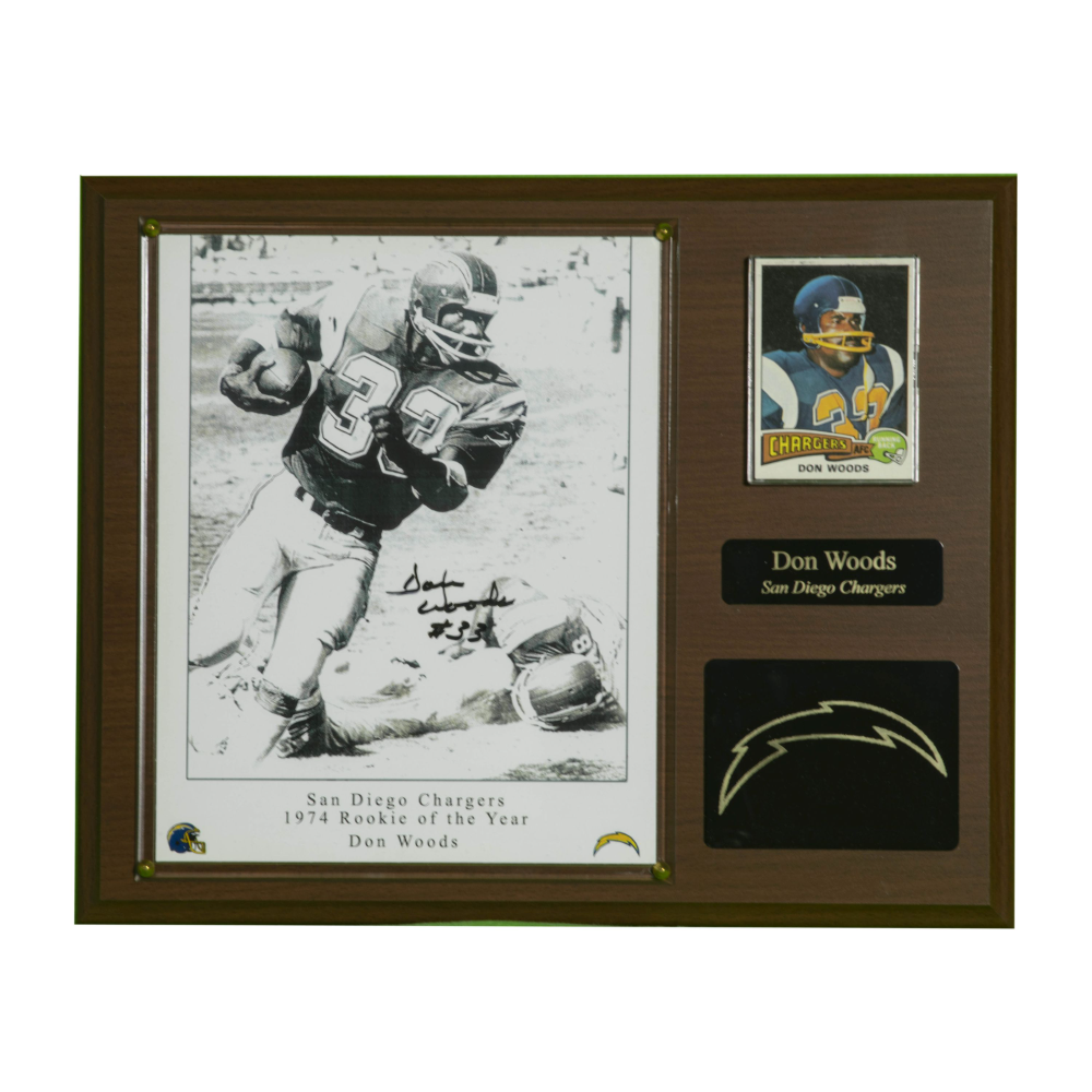 San Diego Chargers souvenir plaque, signed by Don Woods