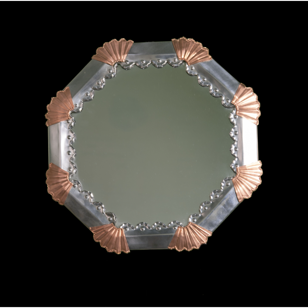 Punched Tin Mirror with Copper Accents