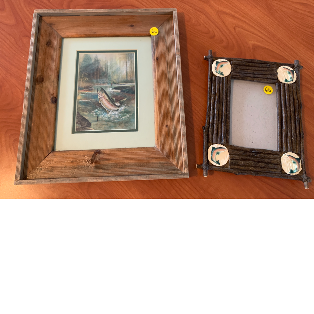 Barnwood framed Fly Fishing on a River Picture and Rustic Rainbow Trout Frame