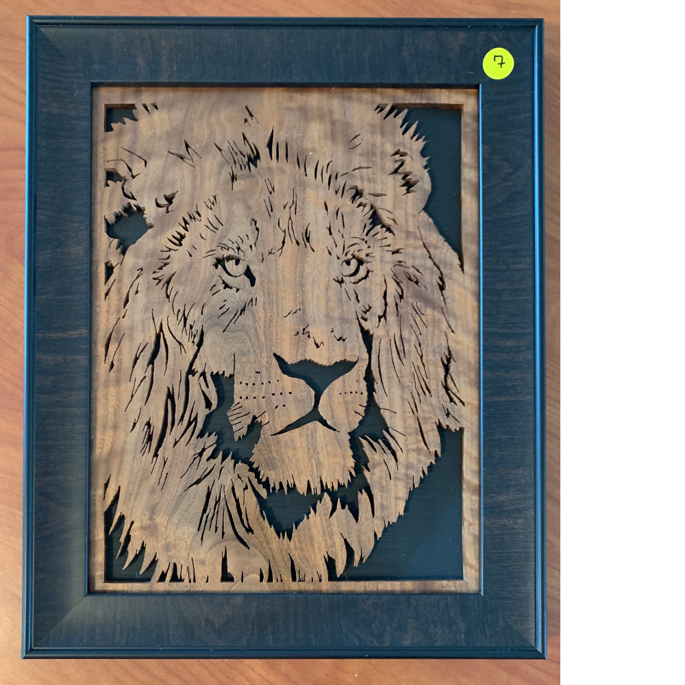 Hand-Made Scroll Saw Creations with Custom Frame - Male Lion