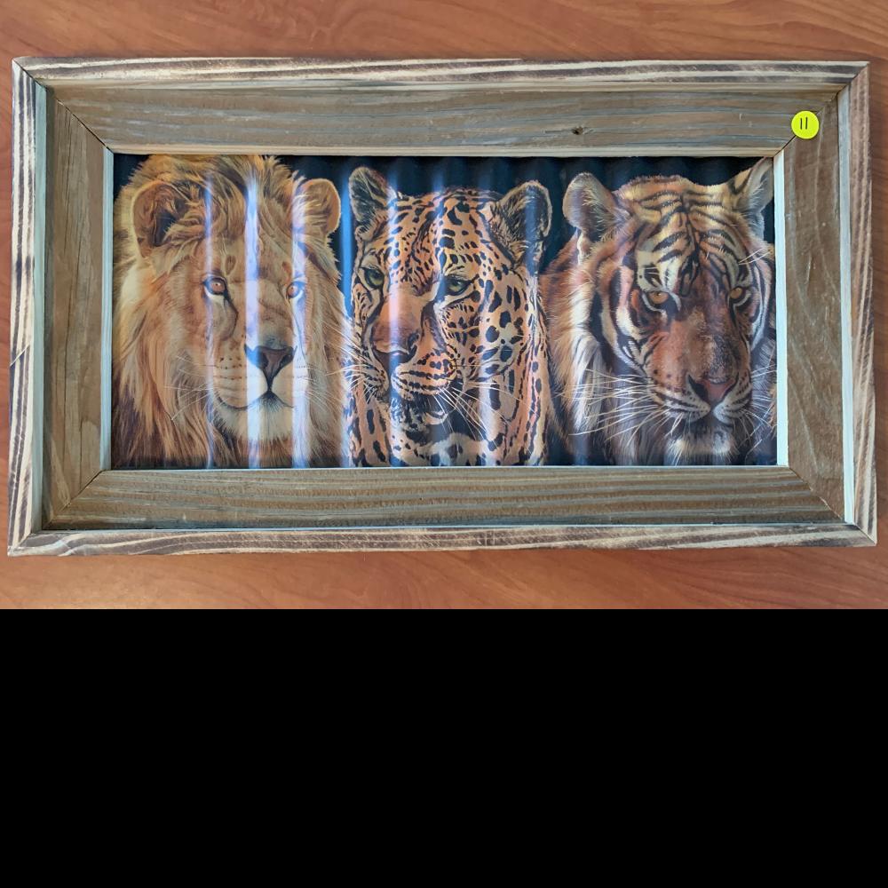 Barnwood framed Corrugated metal Lion ,Leopard, Tiger Applique