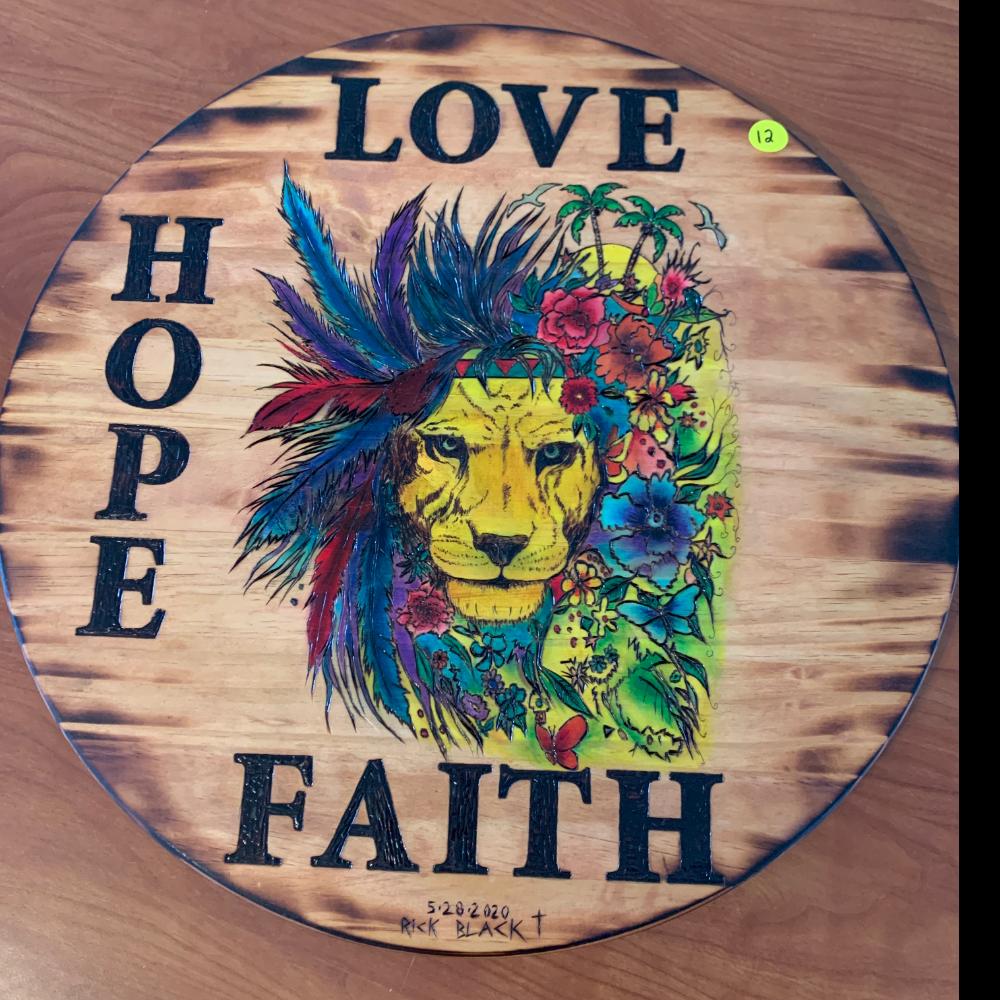 Love, Hope, Faith colorful Lion Woodburning