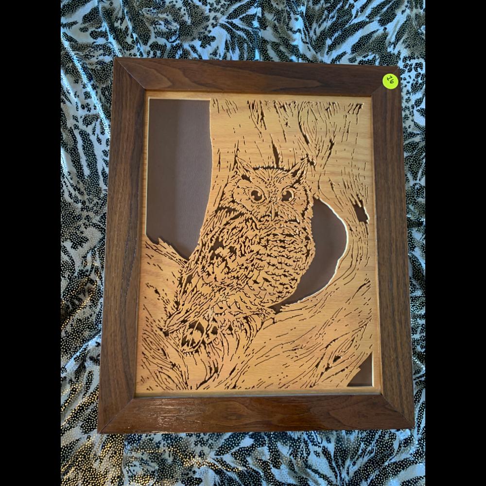 "Hand-Made Scroll Saw Creations with Custom Frame - ""Owl"""
