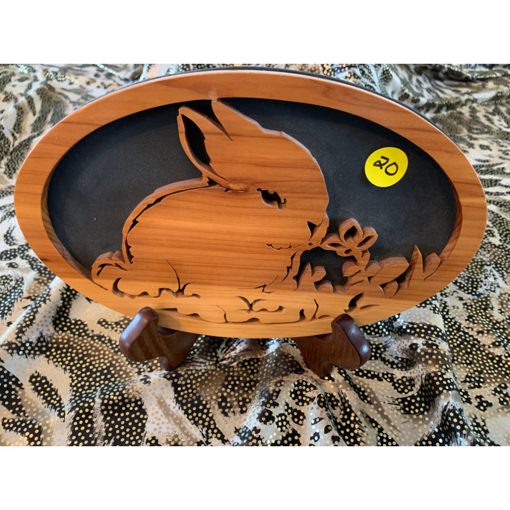Handmade Bunny Scroll Saw Cut Out with Stand