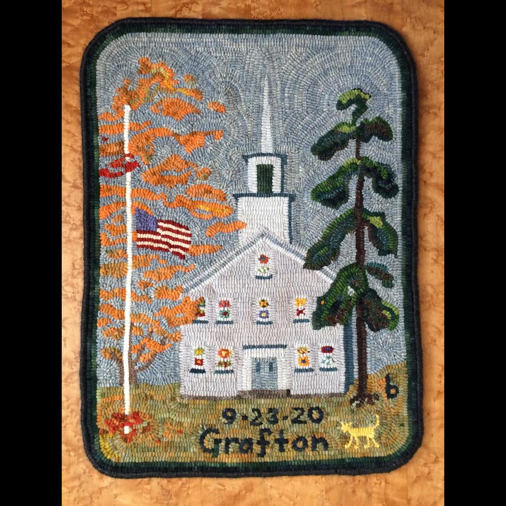 Grafton Center Meetinghouse hooked rug