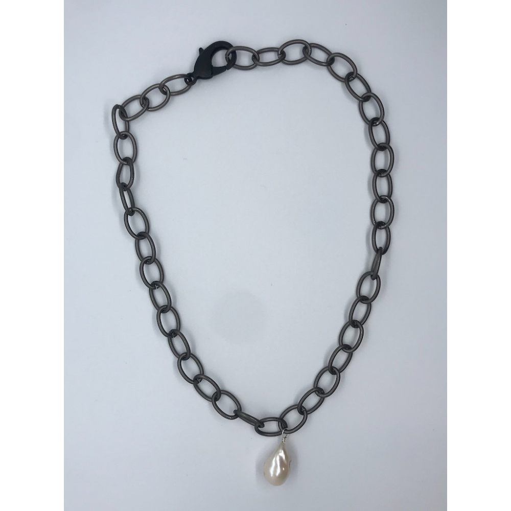 Chainlink Necklace with Pearl