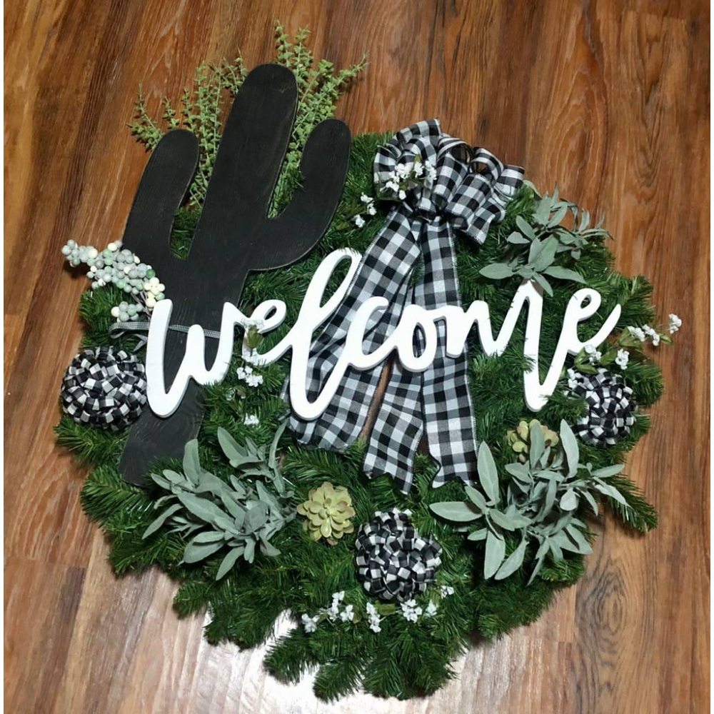 Stick with Kindness Succulent Welcome Wreath