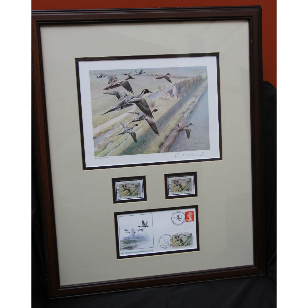 "1991 UK ""First Nation"" Duck Stamp, Print & Postcard by R. McPhail Hand signed"