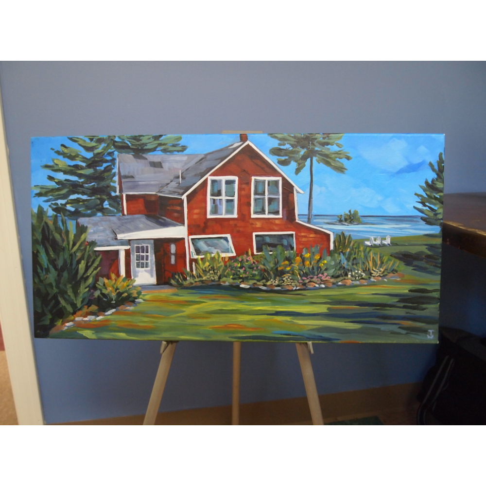 Red Coastal Cottage canvas painting