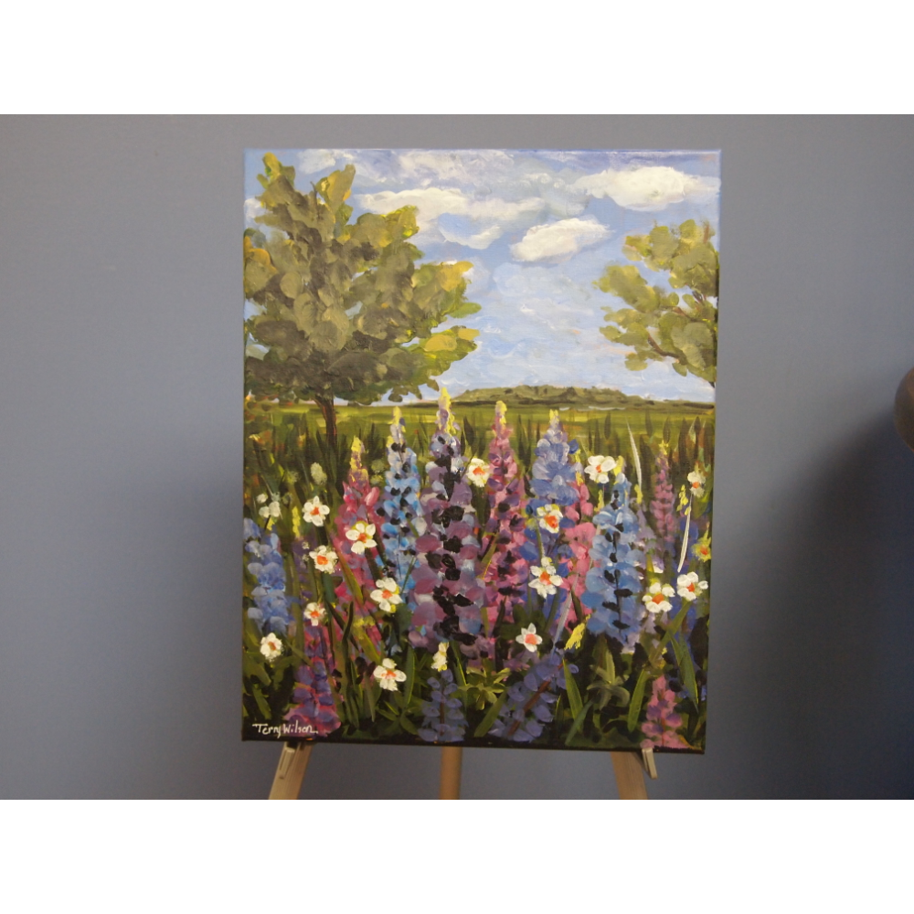 Lupines Field Canvas Painting