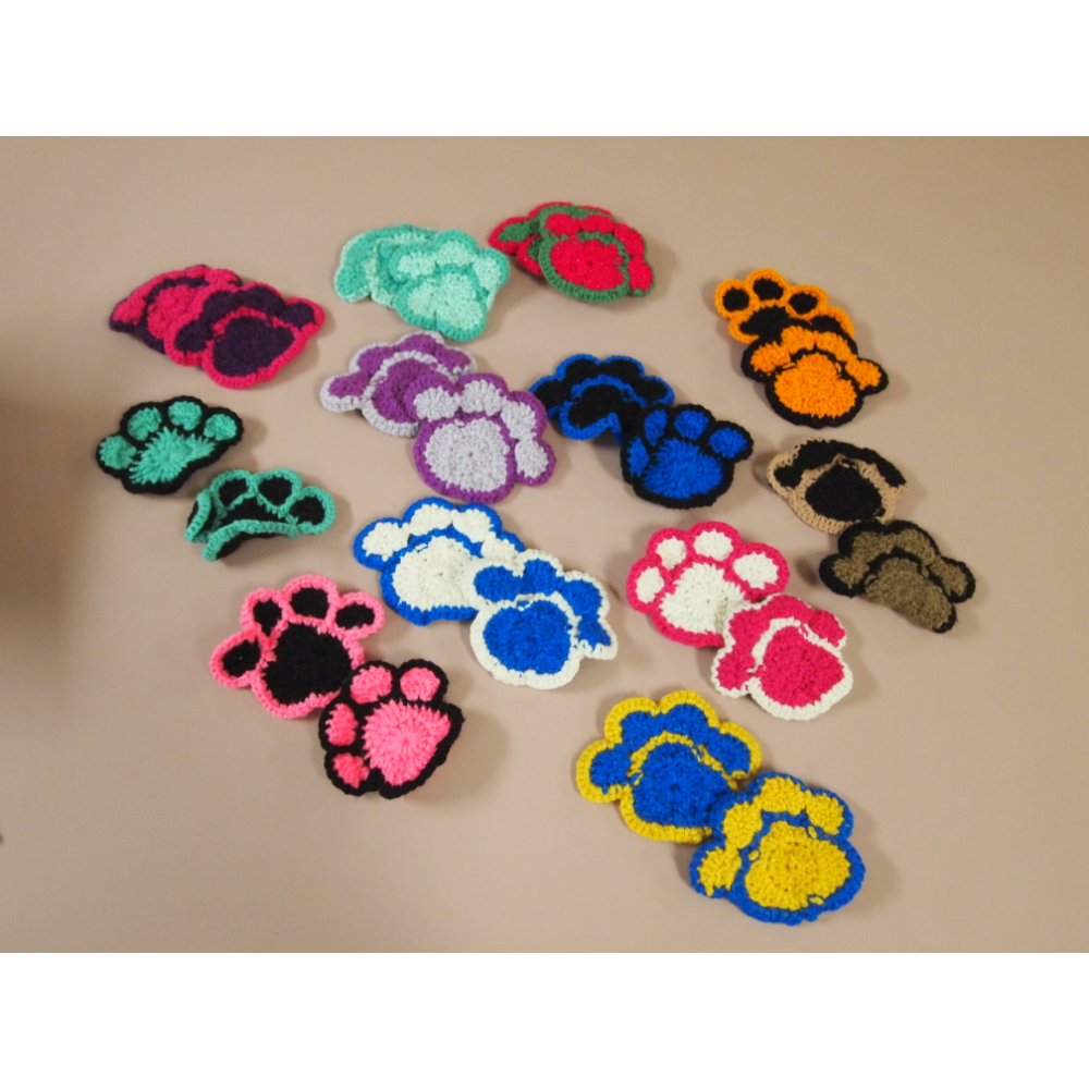 Crocheted Paw Print Ornaments (24)