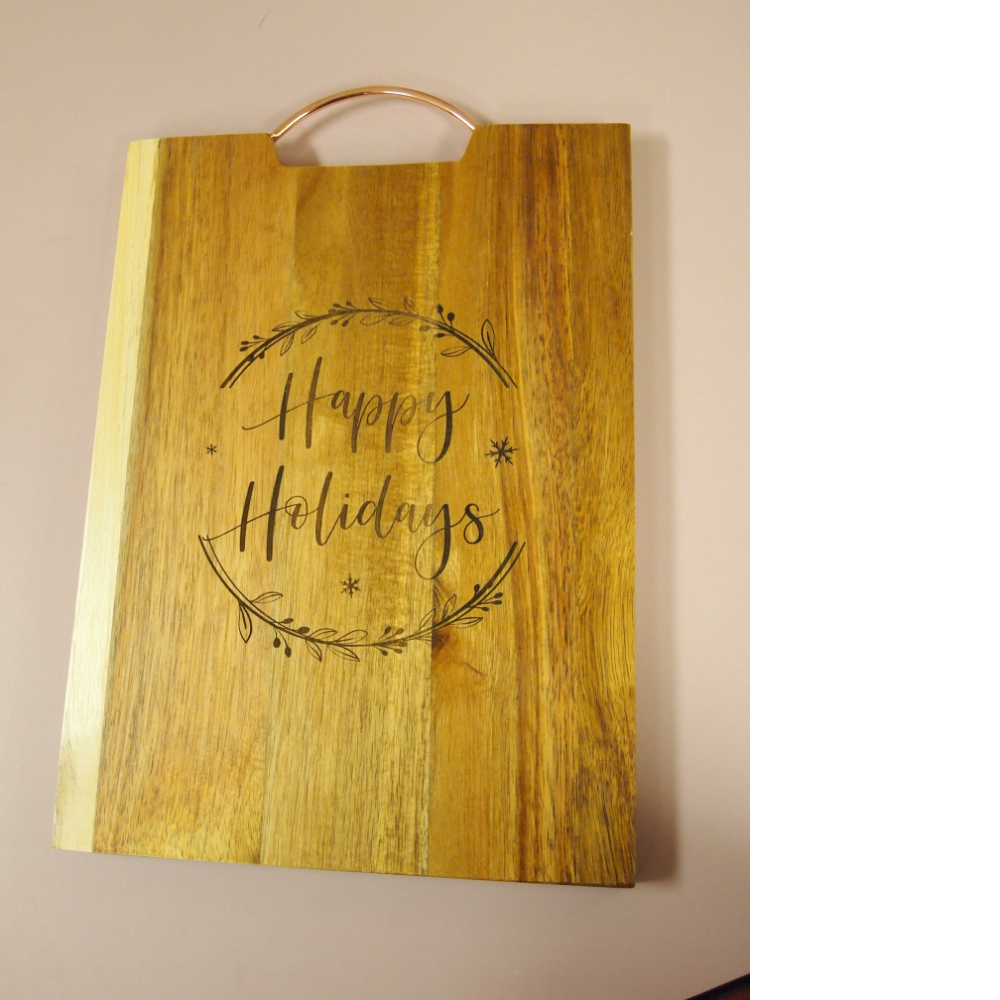 Happy Holidays carved cutting board & 2 carved tree ornaments