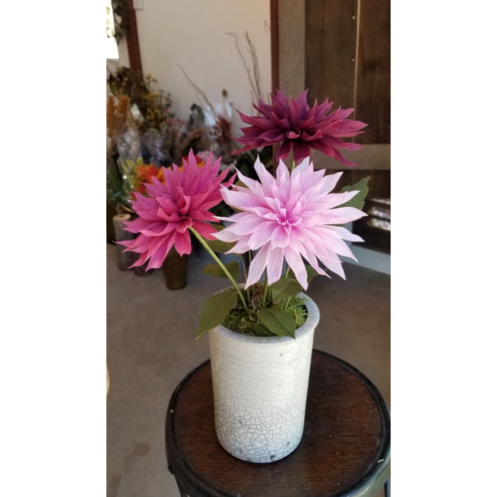 "Paper Flower Arrangement - ""Dahlias - Purple Hue"" in vintage crock"