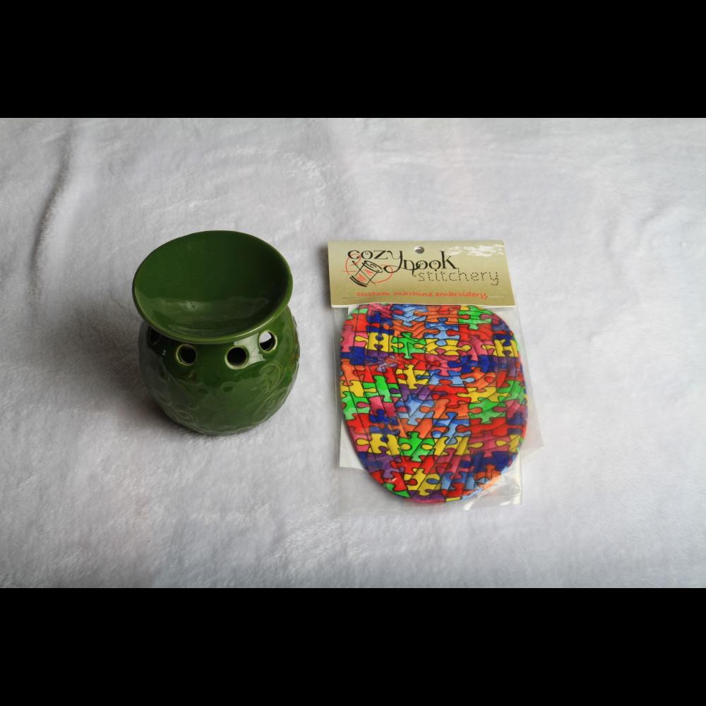 Mug cozy and ceramic votive