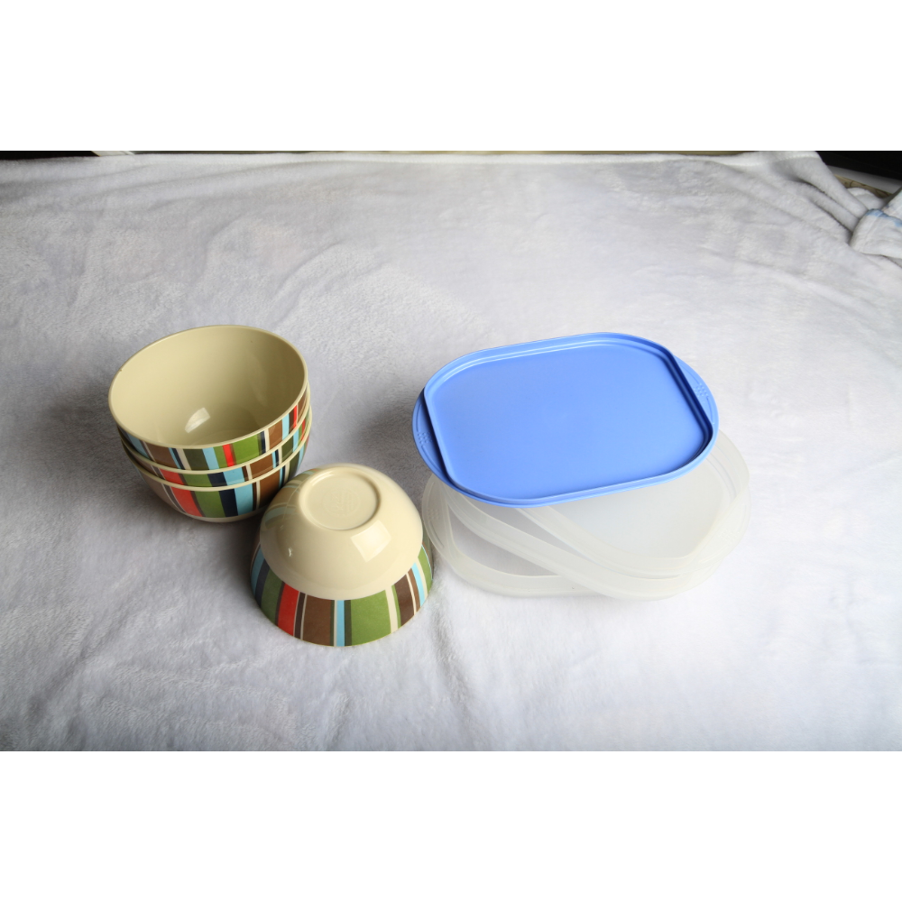 Melamine bowls and tupperware