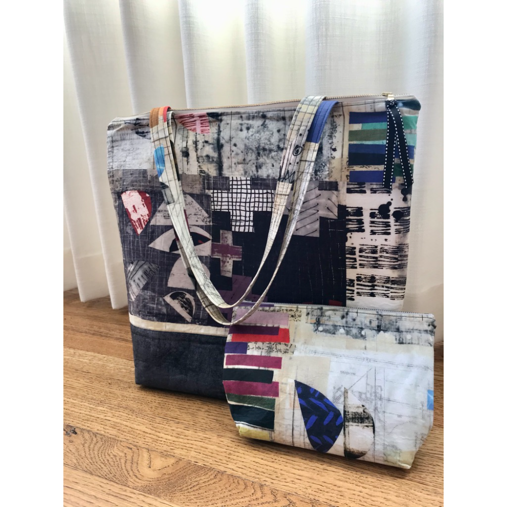 Graphic Tote Bag with Cosmetic Pouch
