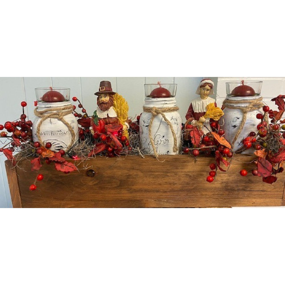 FALL HARVEST CENTERPIECE (with red lights)