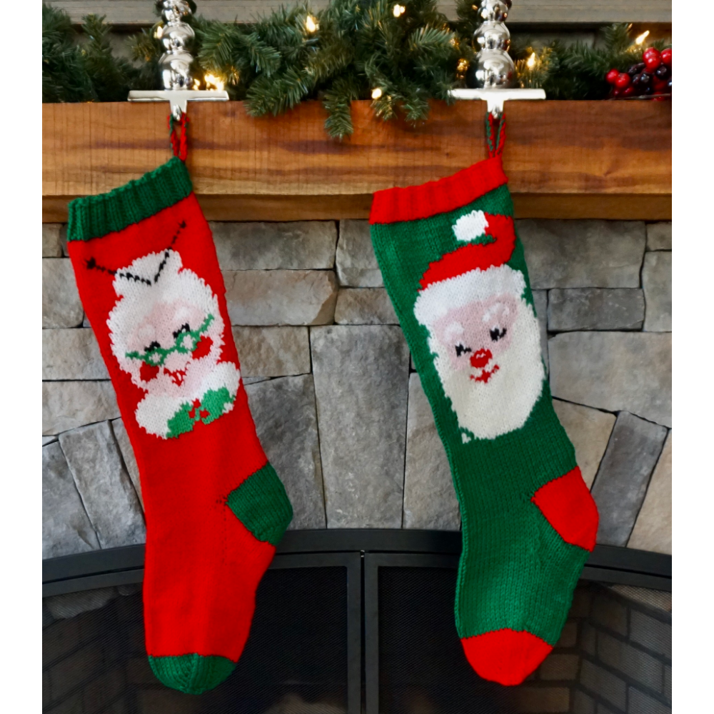 Mr. and Mrs. Santa Clause Knit Stockings