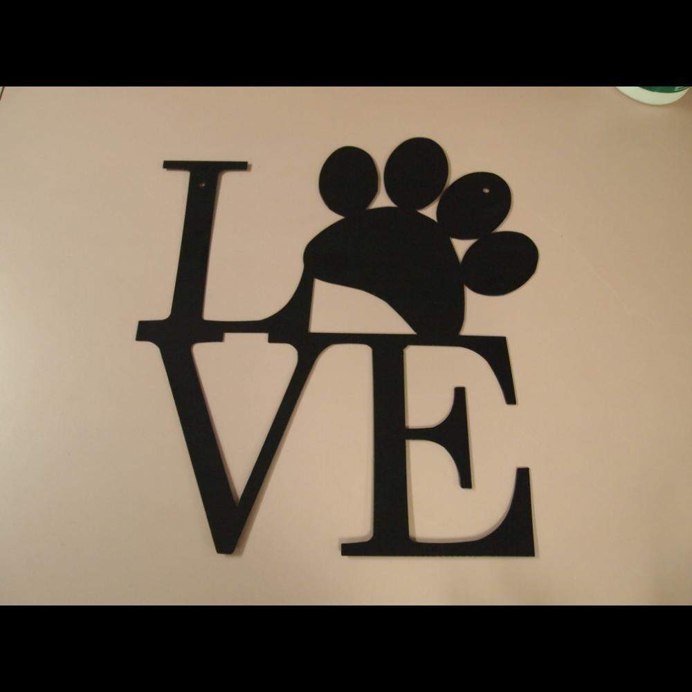 LOVE pawprint metal sign