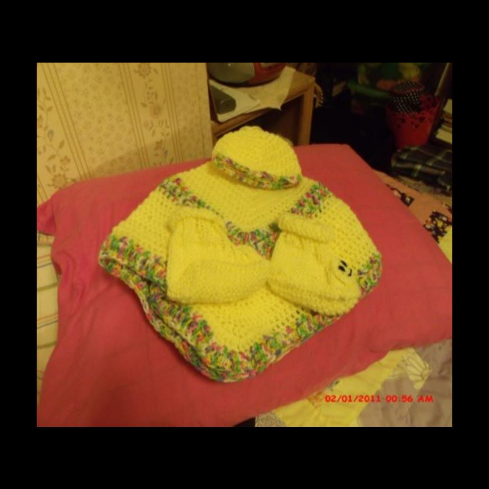 Crocheted Baby Set (blanket, hat & booties)