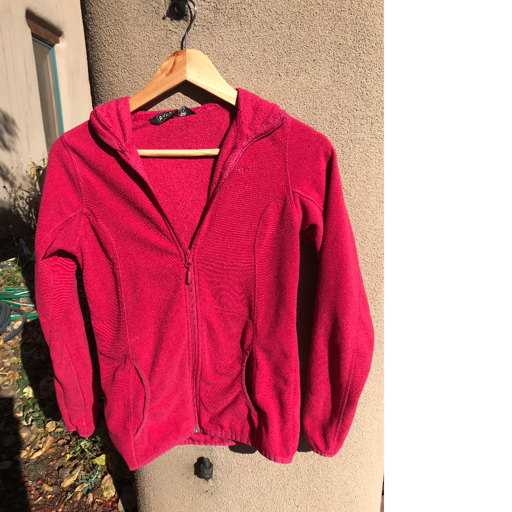 Pinkish red fleecy hooded top for women