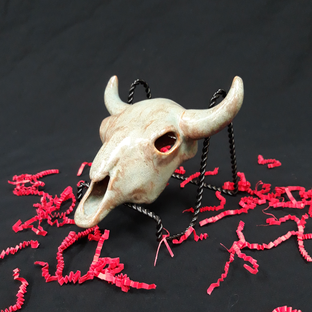 Glazed Ceramic Cow Skull