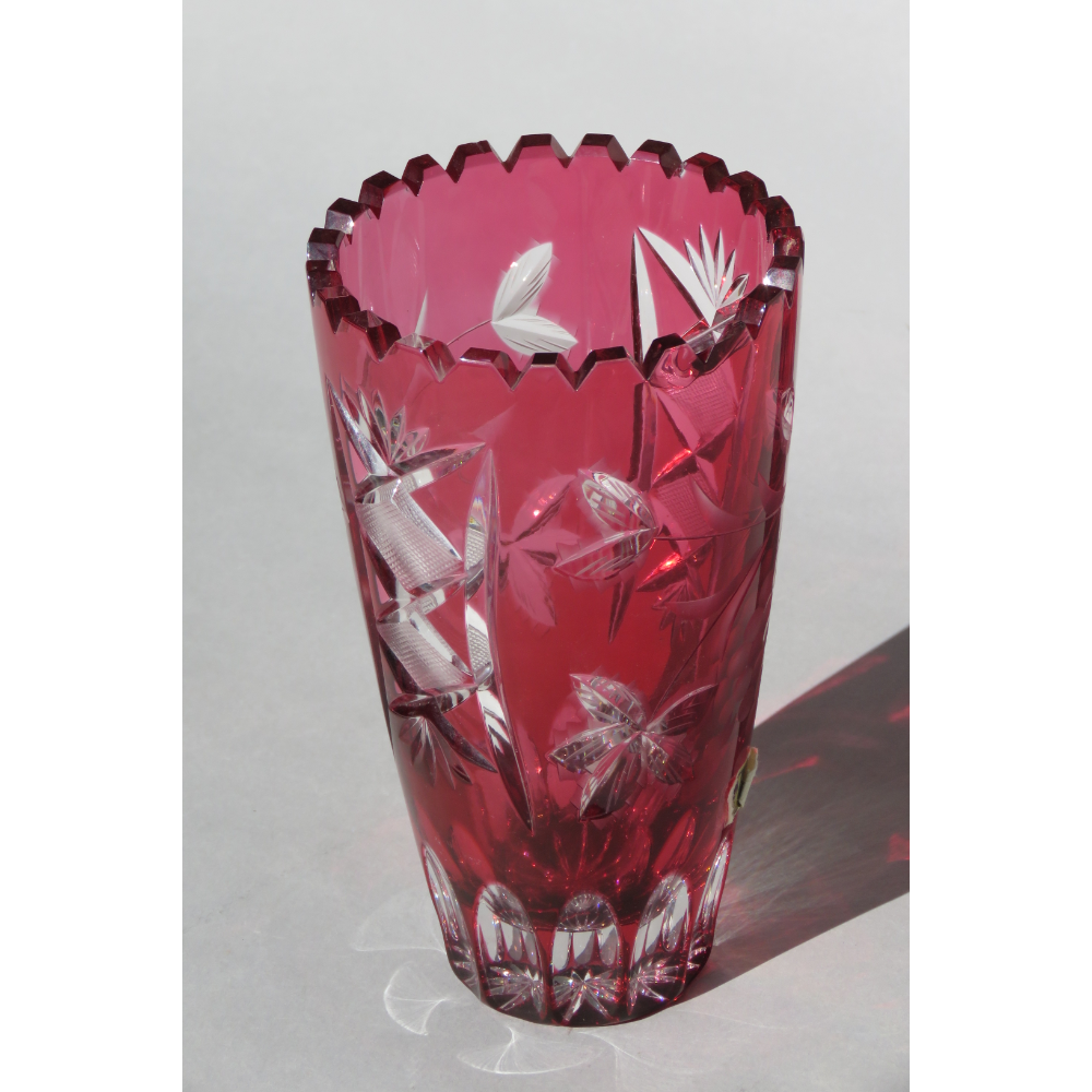 Cranberry Lead Crystal Cut Glass Vase
