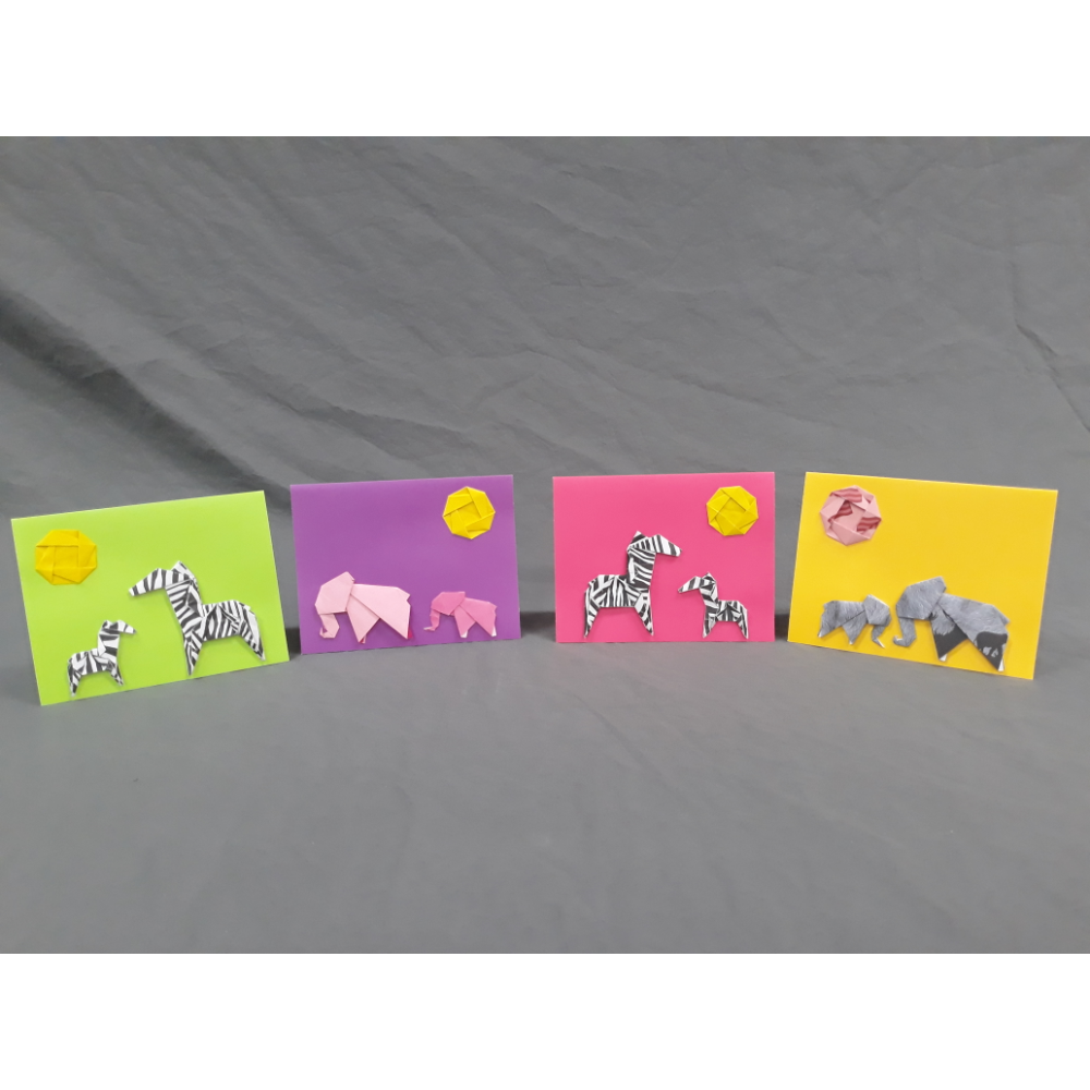Handmade Paper Folded Note Cards Elephants and Zebras
