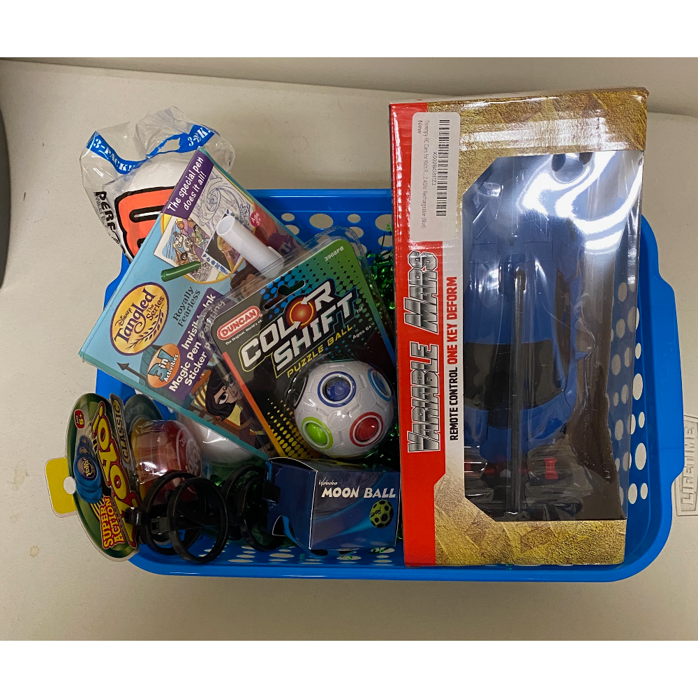 Toy Gift Basket with Blue Remote Control Car