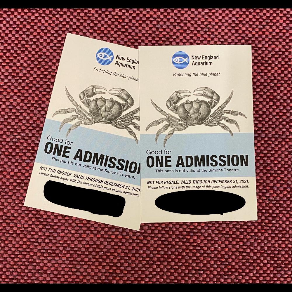 2 Admission Passes to New England Aquarium