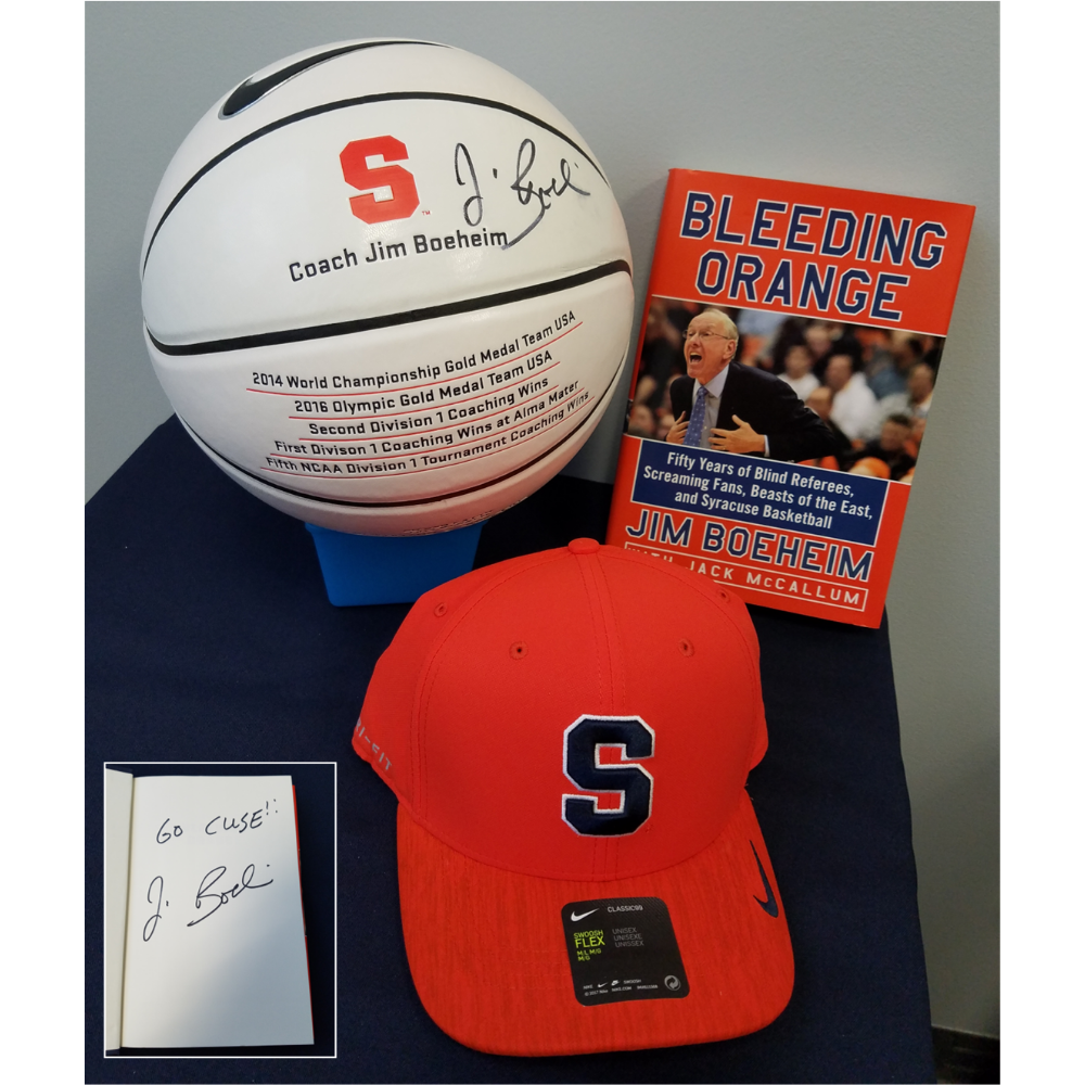 Basketball and items Autographed by Jim Boeheim of Syracuse