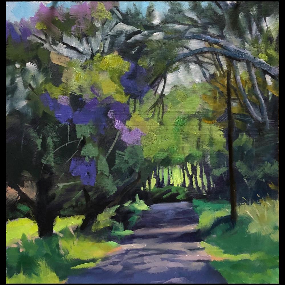 An Inkling of Jacaranda Bloom - Kealaloa Road, Makawao by Patricia Chaney