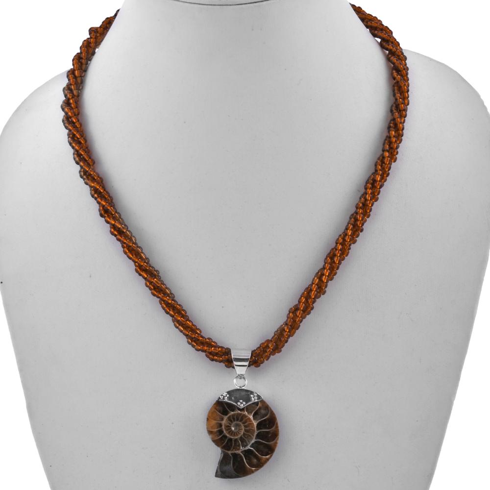 Ammonite Pendant Beaded Necklace