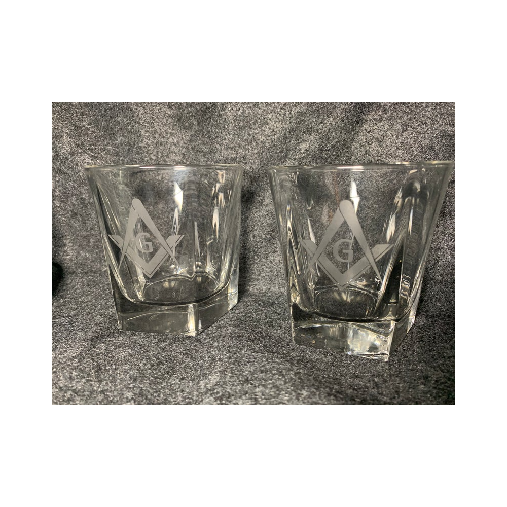 Masonic Etched 5 Sided Whiskey Glasses